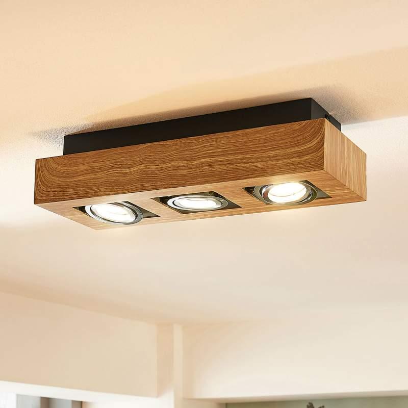 3-lamps LED plafondlamp Vince met houttint