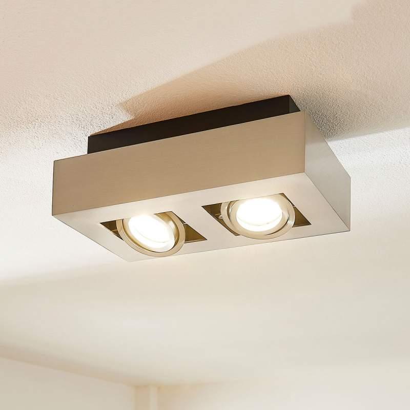 2-lamps LED spot Vince, gesatineerd nikkel
