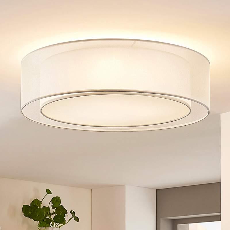 Ronde plafondlamp Amon van witte stof, dimbaar
