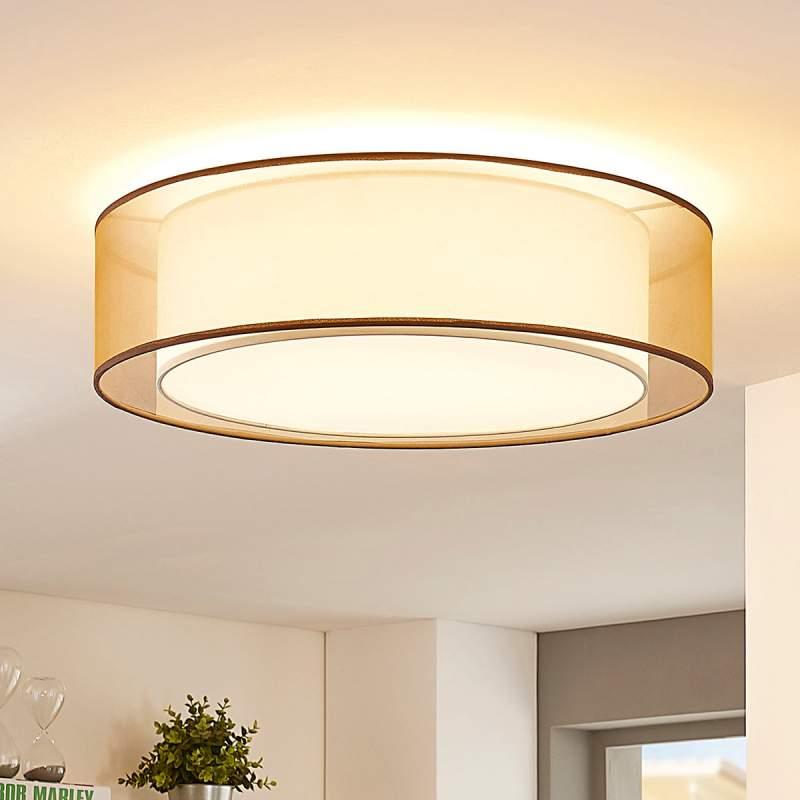 Bruine LED organza plafondlamp Amon, dimbaar