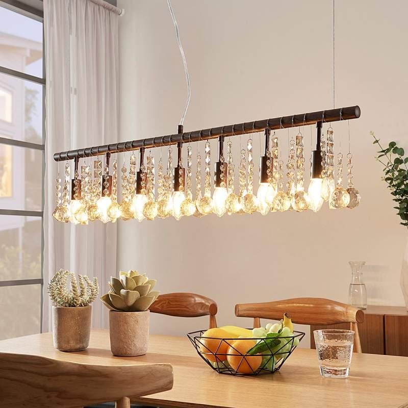 Roestkleurige hanglamp Matei, met 7 lampjes