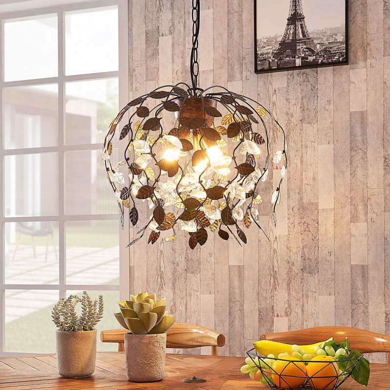 Amendera - hanglamp met metalen bladversiering