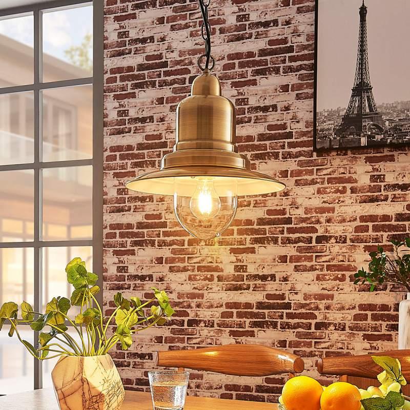 Oud-messingkleurige hanglamp Lars, maritieme stijl