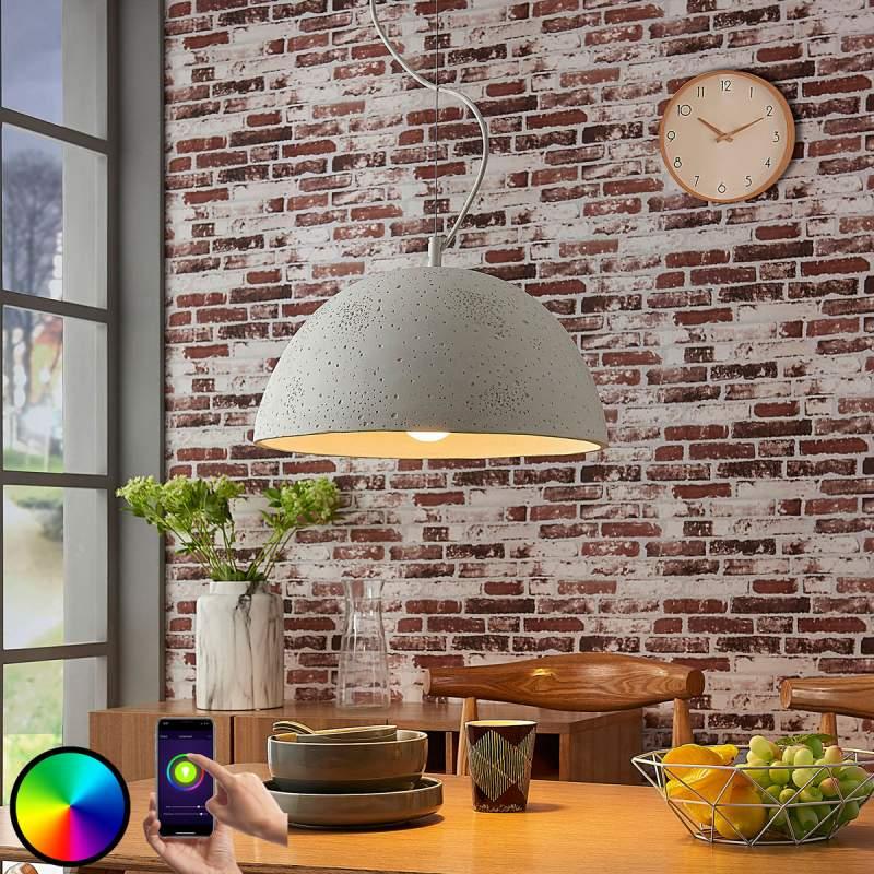 Kleurrijke beton hanglamp Carolle, LED