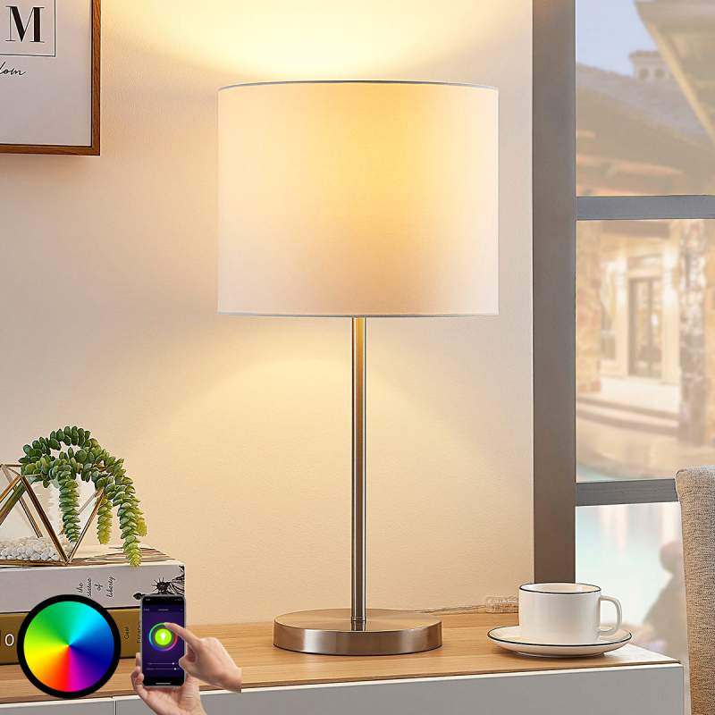 Stoffen tafellamp Everly met RGB LED lamp