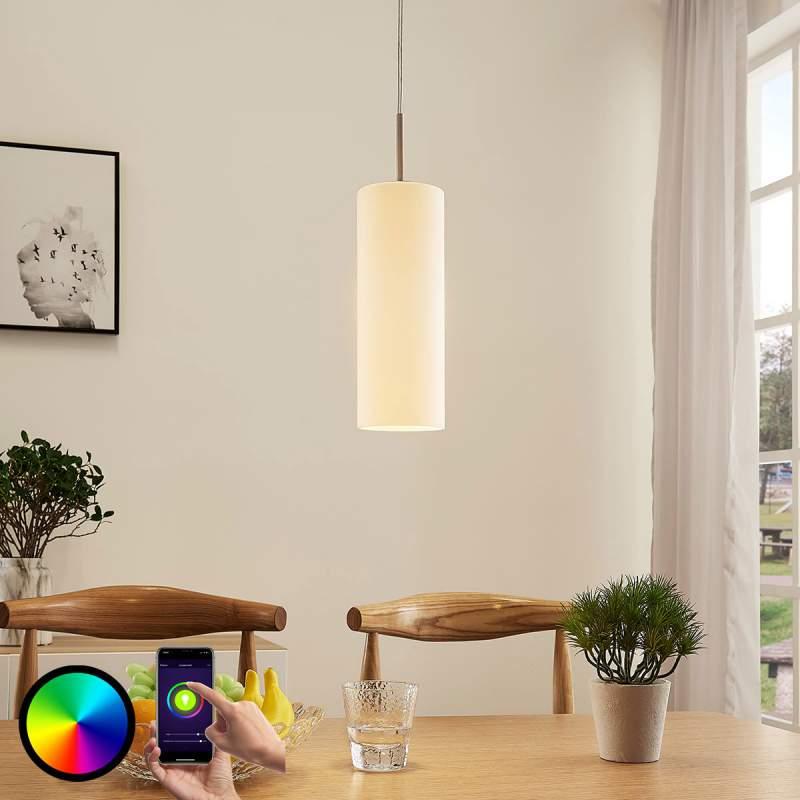 Cilindrische LED hanglamp Felice met RGB lamp