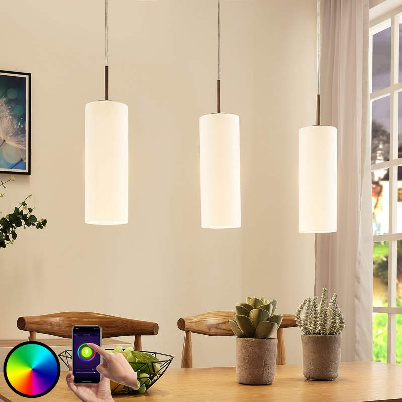 Glazen LED hanglamp Felice, 3 lampen, app