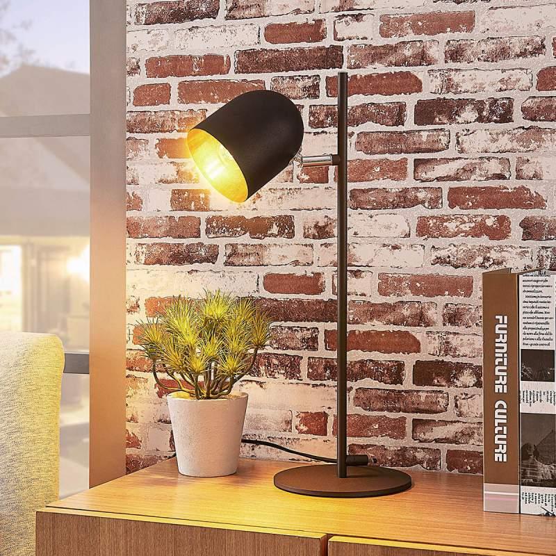 Elegante tafellamp Morik, zwartgoud