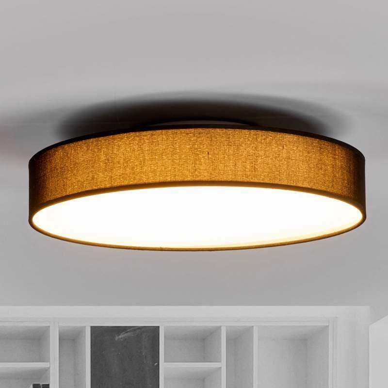 Ronde LED textielplafondlamp Saira in zwart