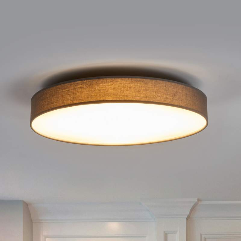 Textielplafondlamp Saira in grijs, met LED's