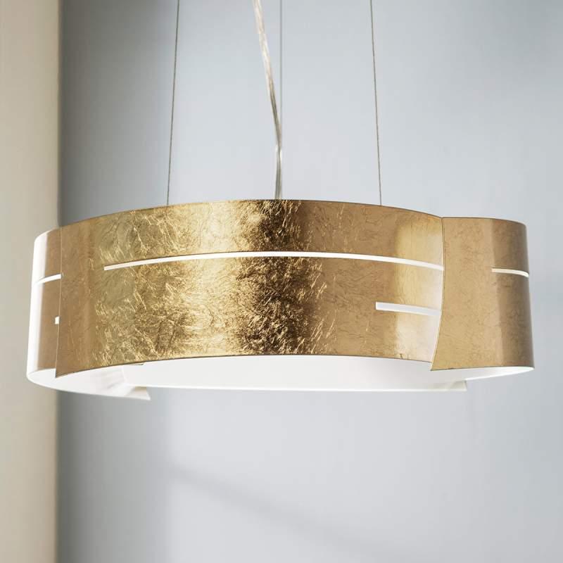 Goudkleurige LED hanglamp Keyron van metaal