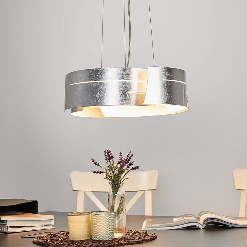 Zilveren LED hanglamp Keyron, moderne vorm