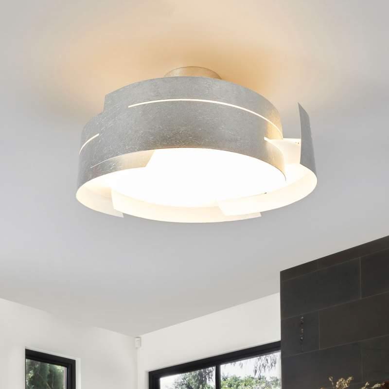 Ronde LED plafondlamp Keyron in zilver