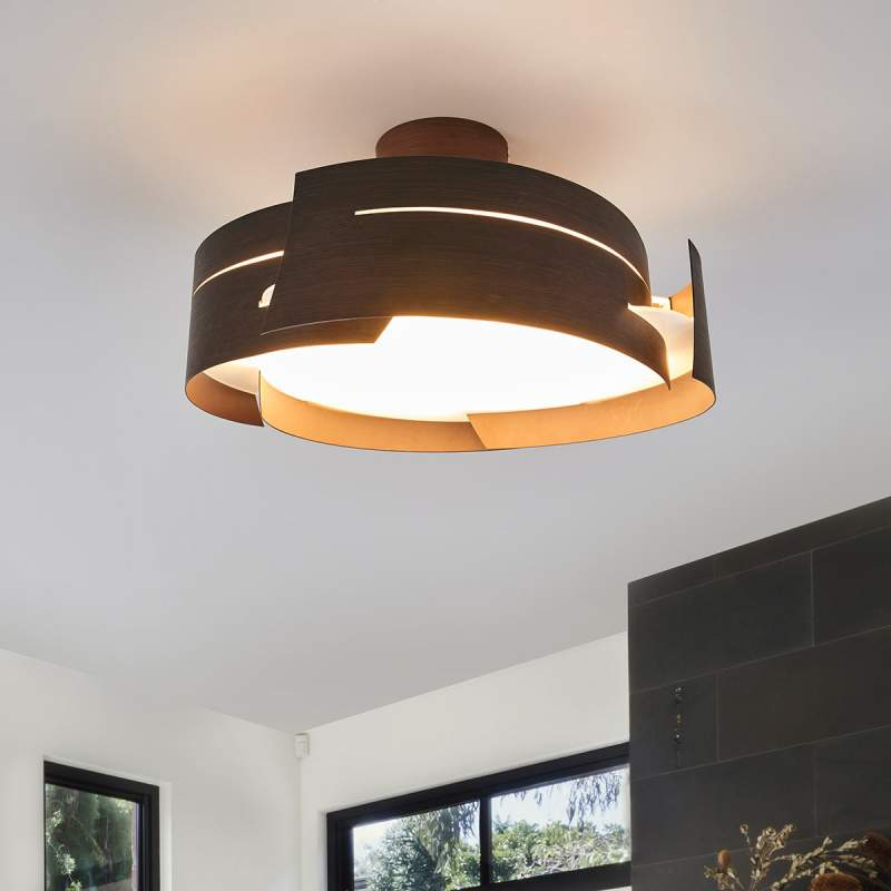 Bruine plafondlamp Keyron, LED-aangedreven