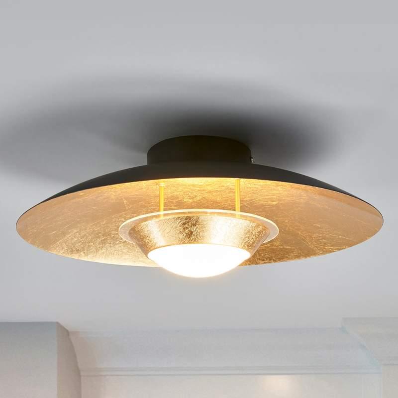Zwart-gouden LED plafondlamp Yasien