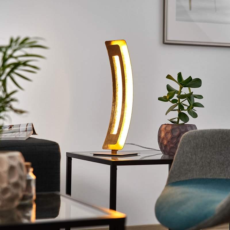Gouden LED tafellamp Lolina met matte finish