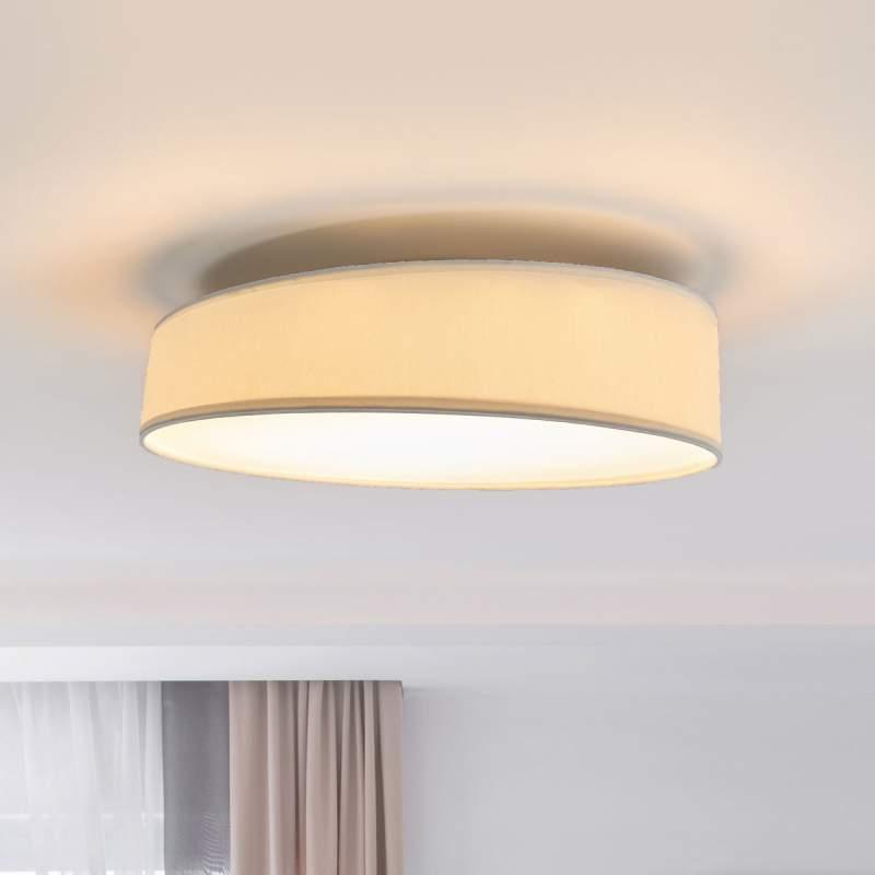 Ronde, witte stoffen LED plafondlamp Liem