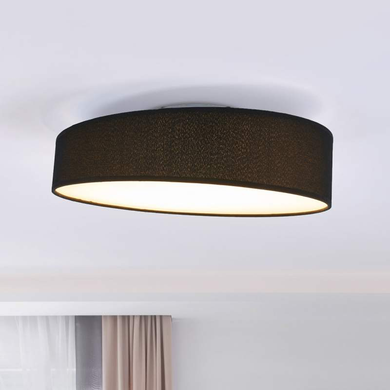 Liem - textiele LED plafondlamp met zwarte rand