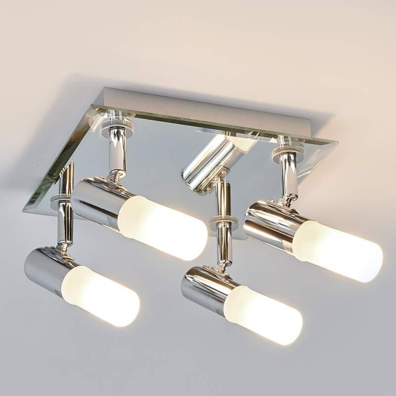 Hoekige plafondlamp Jilian, vierlamps