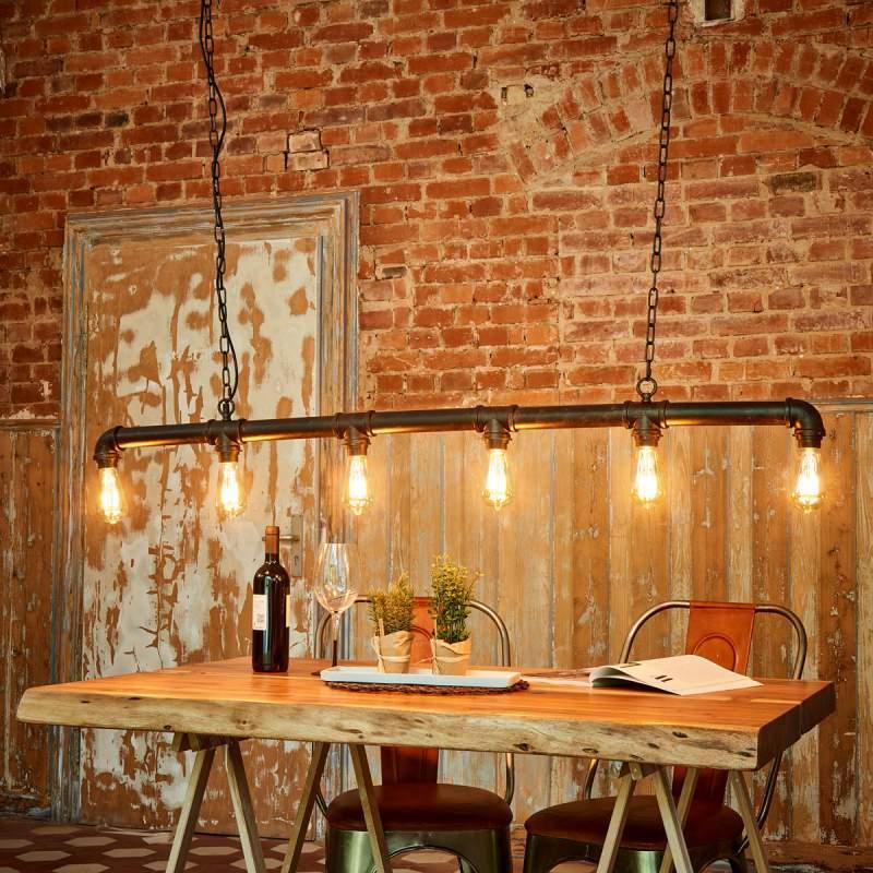 6-lichts hanglamp Tap in waterpijp vorm