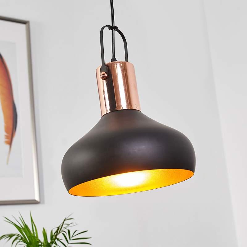 Mooie hanglamp Batu, zwart en goud