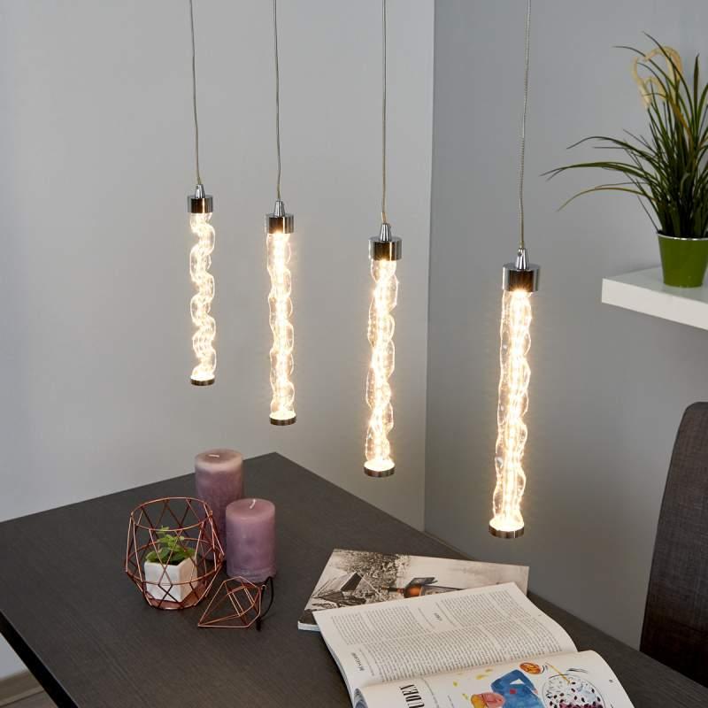 Betoverende LED hanglamp Rieke, vierflammig