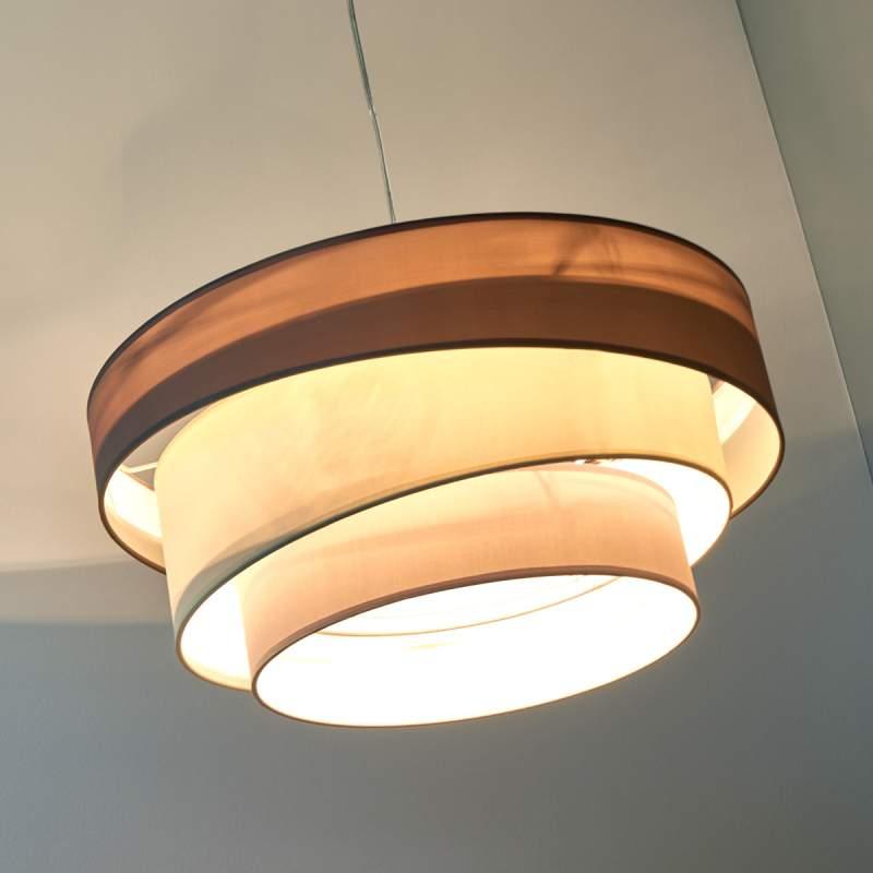Melia - drielaagse hanglamp in bruin en grijs