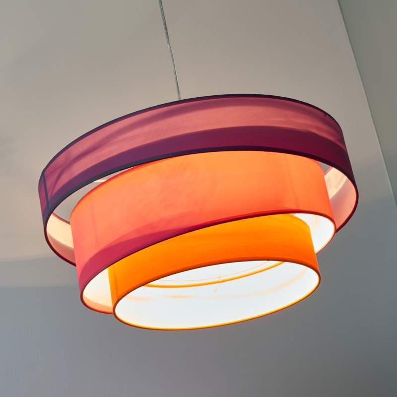 Felgekleurde hanglamp Melia, paars, roze