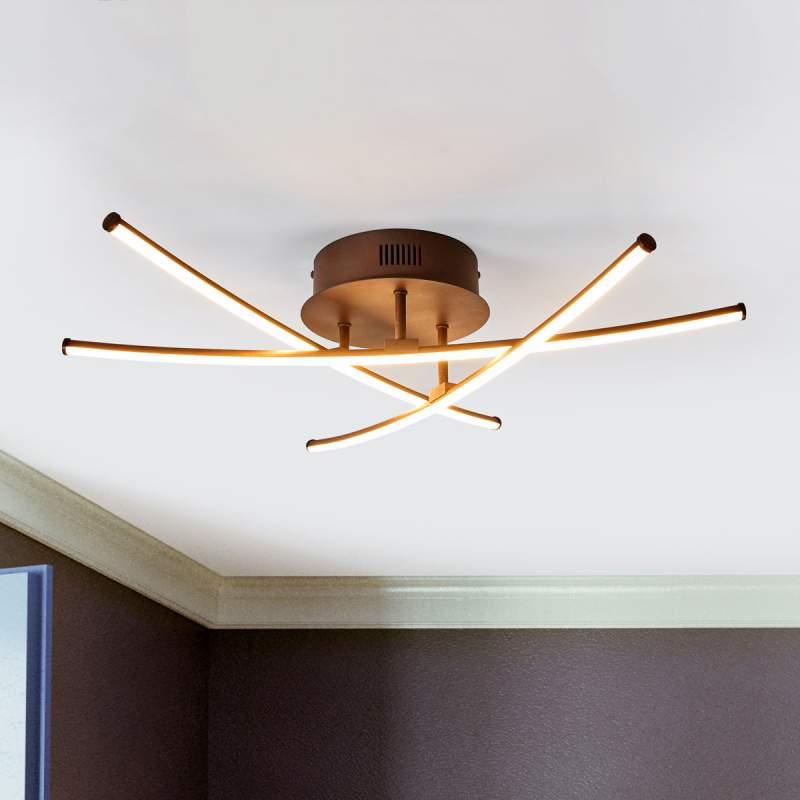 Roestkleurige ledlamp Yael met 3 staven