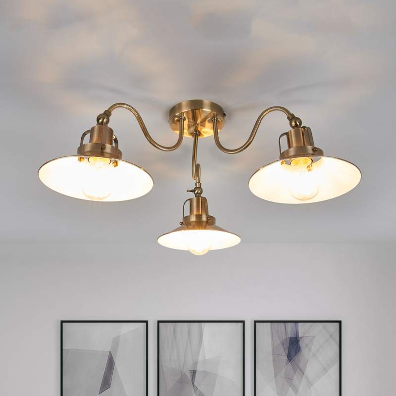 3.lamps plafondlamp Arkardia in oud-messing