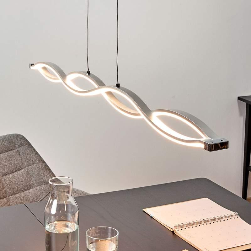 Gegolfde hanglamp Tura met heldere LED's
