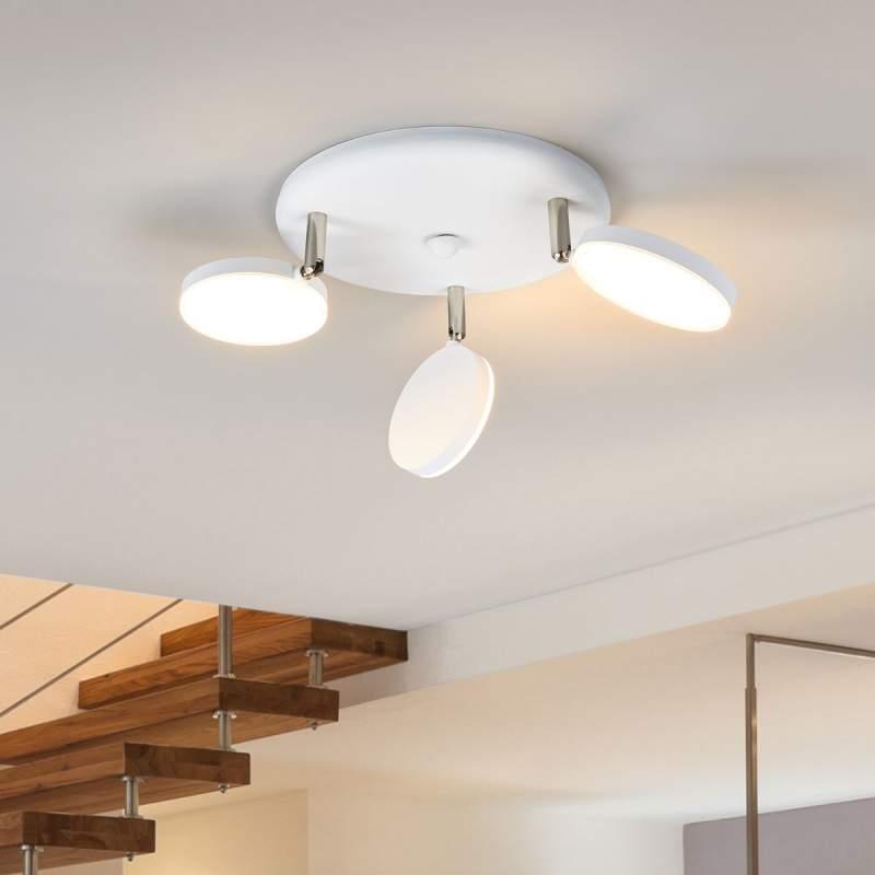 3-lichts led plafondlamp Milow in wit