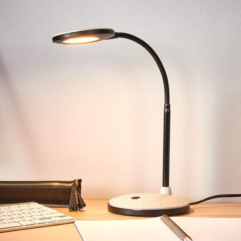 LED bureaulamp Ivan in lichtgrijs en zwart