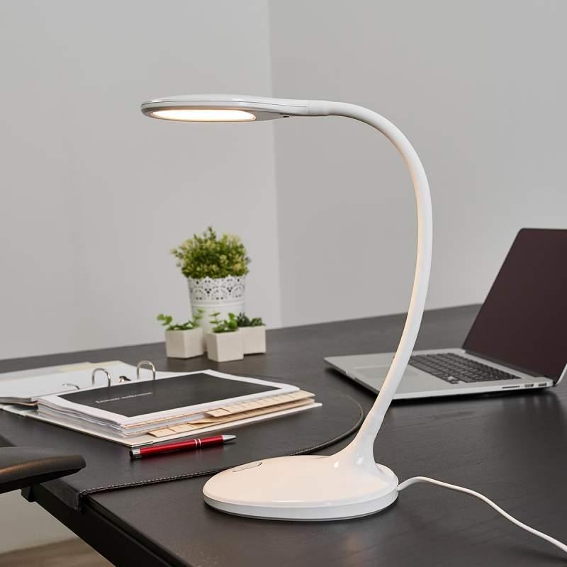 Witte led bureaulamp Aijana, dimbaar