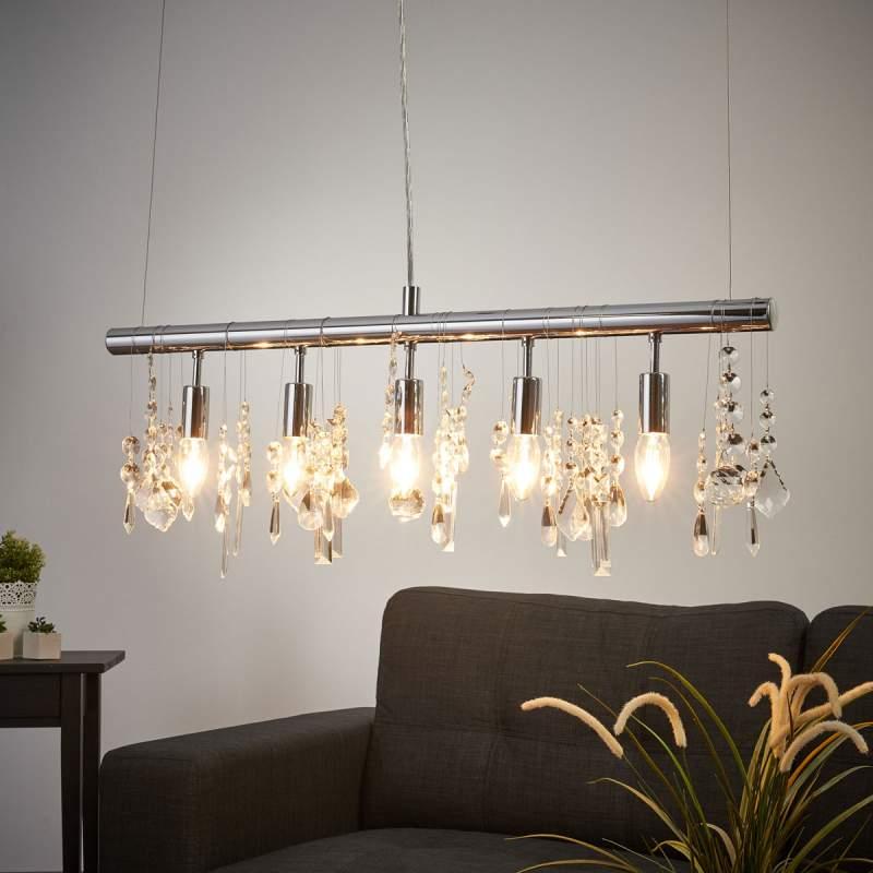 Fonkelende 5-lichts hanglamp CRYSTAL