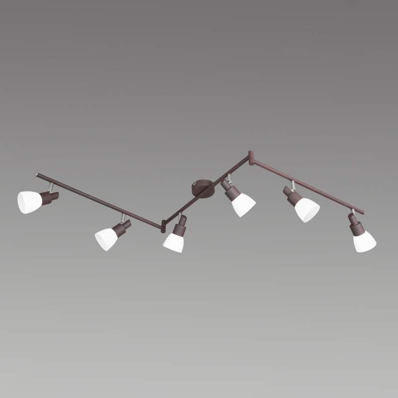 LED plafondlamp Eve in antiek bruin 6 lichbronnen