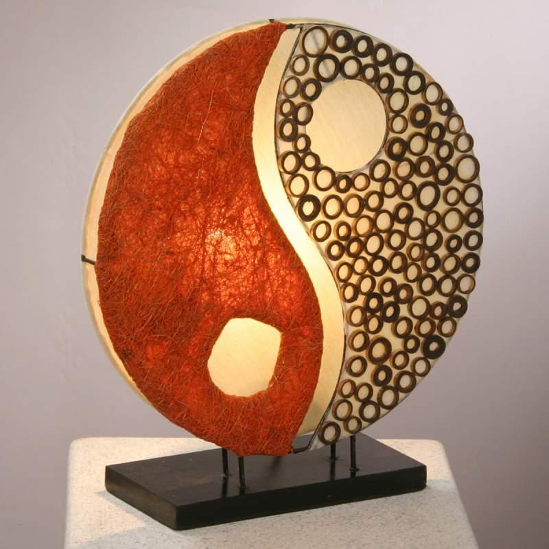 Tafellamp Ying Yang, op houten voet