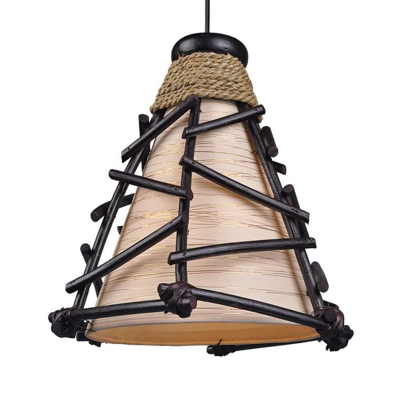 Decoratieve hanglamp Romy met hout