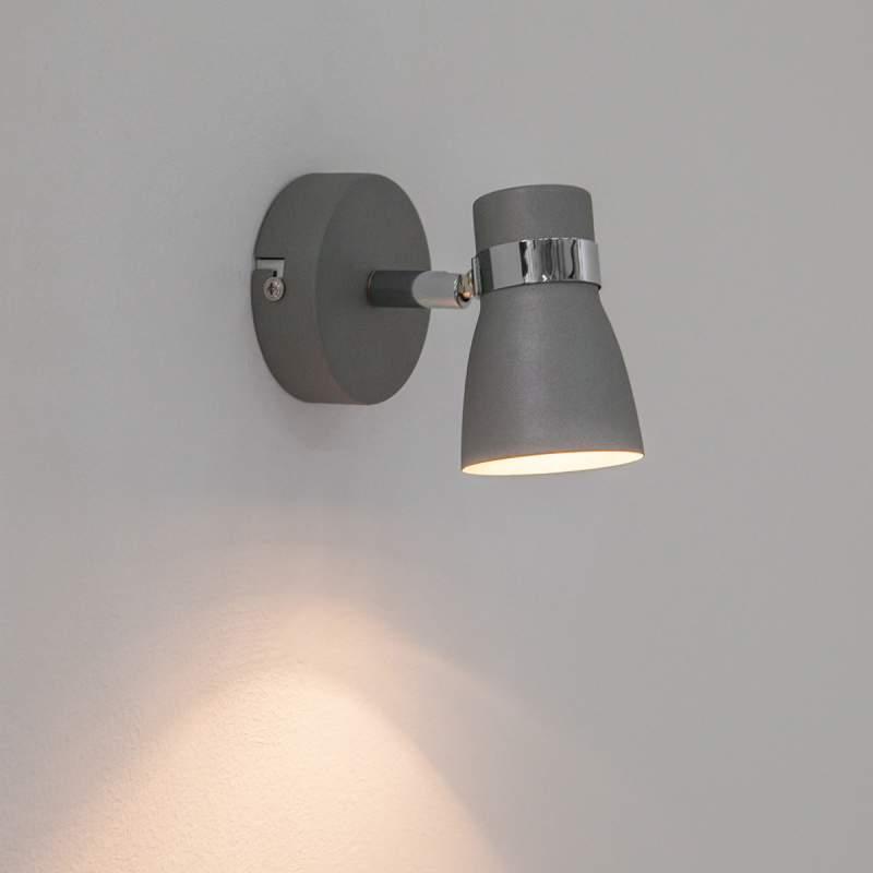 Grijze LED-wandlamp Arjen, GU10