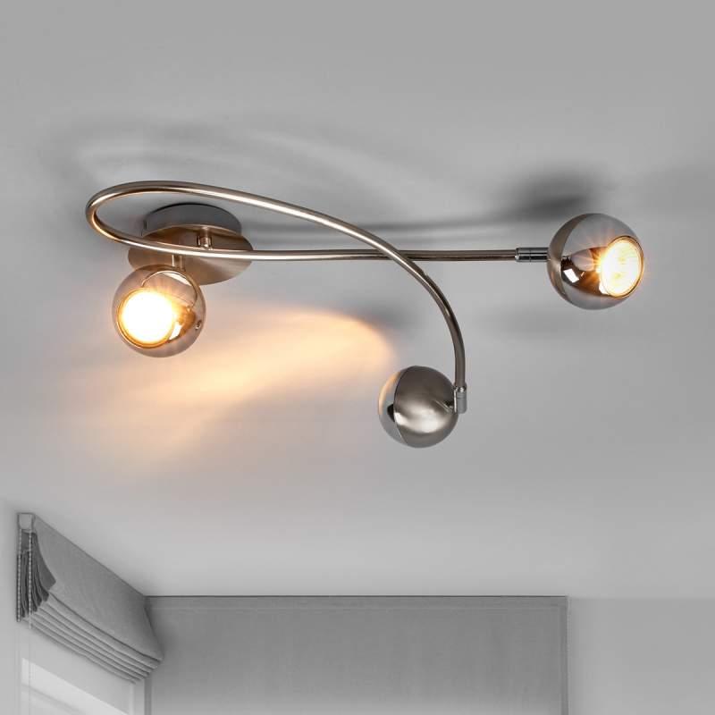 Nikkel led-plafondlamp Arvin, drieflammig