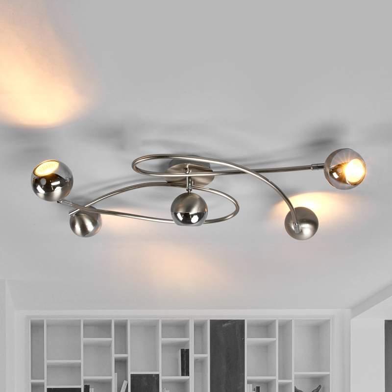 led-plafondlamp , mat nikkel