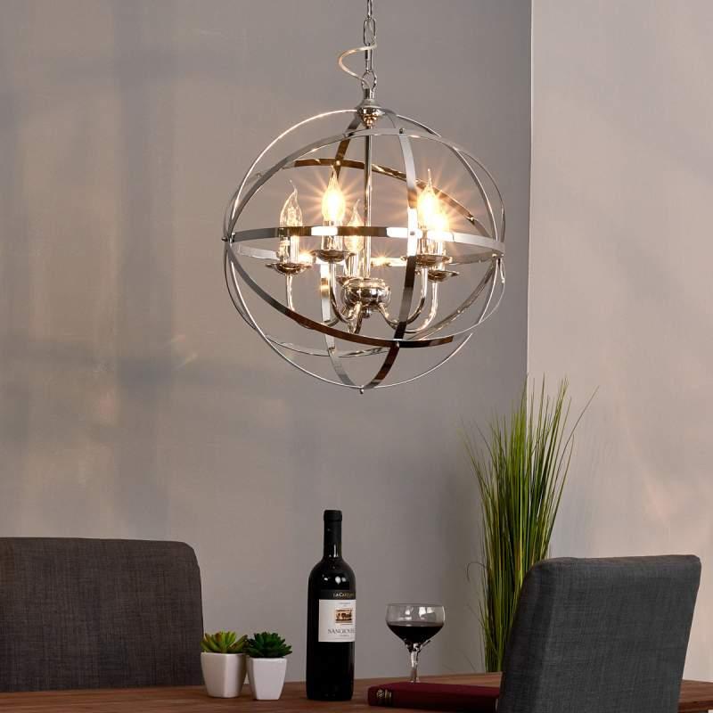Glanzend chromen hanglamp Patrisia