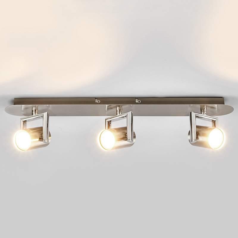 Drielamps LED-plafondlamp Luciana, nikkel