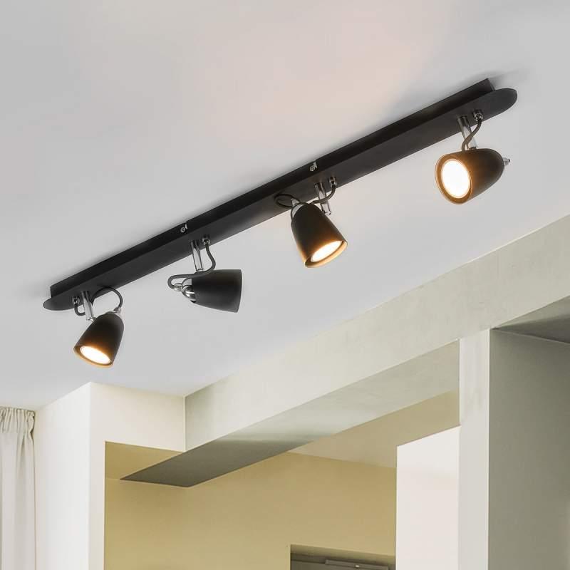 Zwarte plafondlamp Marko met vier lampen