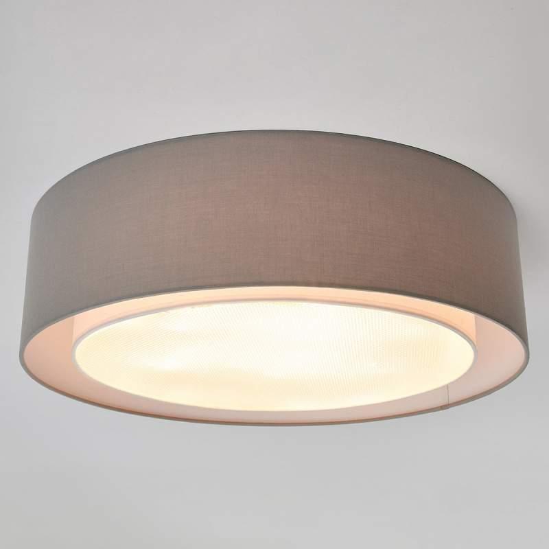 Grijze stoffen plafondlamp Raka, rond