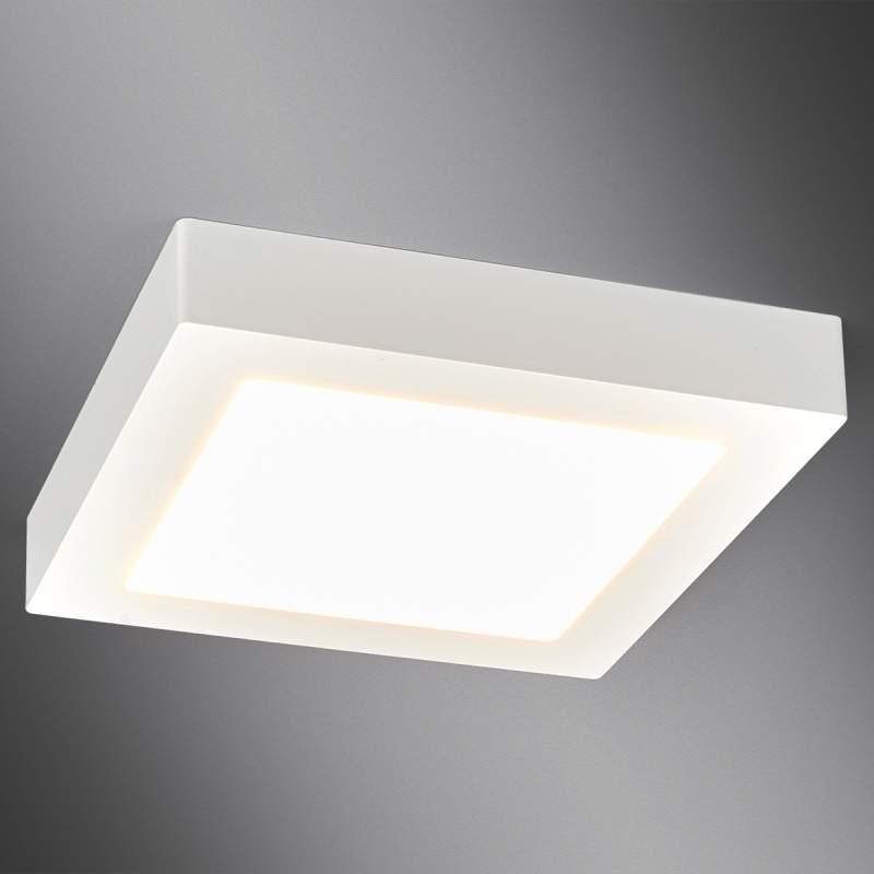 Witte LED bad-plafondlamp Rayan in hoekige vorm