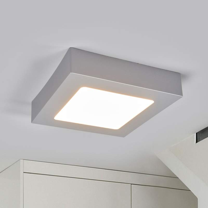 Vierkante LED badkamer plafondlamp Marlo, zilver