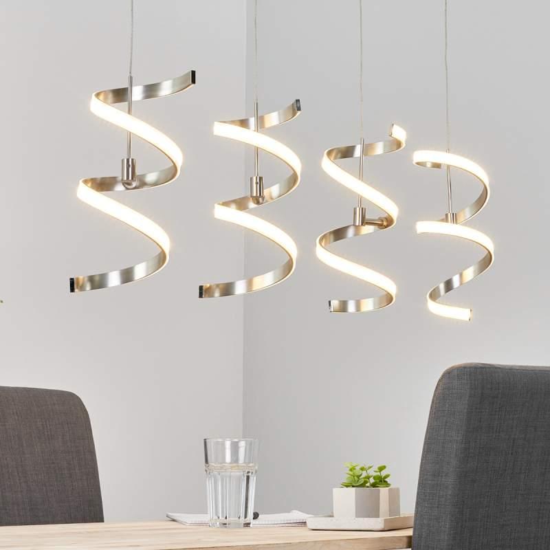 Vierlamps hanglamp Pierre in spiraalvorm