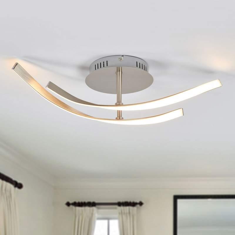 Moderne, nikkelkleurige LED plafondlamp Milane