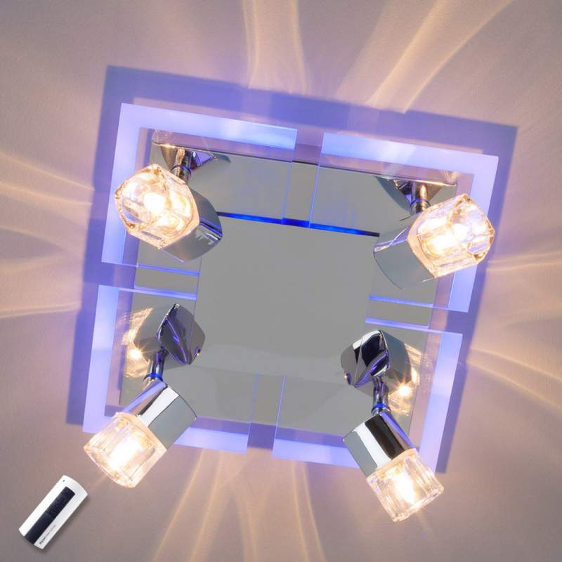 4-lichts plafondlamp Timea met blauw led licht